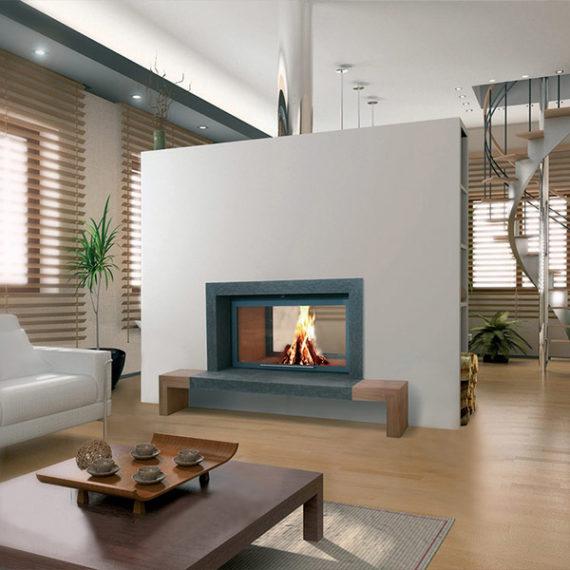 cheminee moderne 3 - 1 vitre Flam Cheminee Antibes et Nice